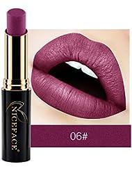 ESAILQ Nouveau Lip Lingerie Matte Métal Liquide Rouge à Lèvres Brillant à Lèvres étanche (F)