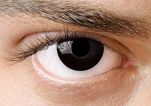 Eye Effect schwarze Kontaktlinsen black out! Farbige Kontaktlinsen schwarz karneval/halloween ohne Stärke Karne mit gratis Kontaktlinsenbehälter