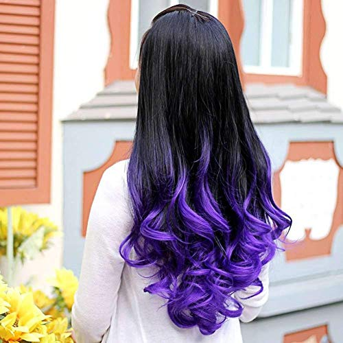 Synthetische Perücke Haar, Frauen große Welle lange lockige wellenförmige Verlaufsfarbe Ombre drei vierte volle Haarperücke lila (Aussehende Gut Männliche Halloween-kostüme)
