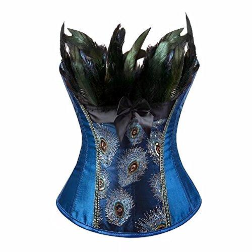 Kostüm Burlesque Pfau - aizen Corsage Korsett Vollbrust Feder Bustier Damen Dessous Stickerei Kostüme Pfau Pattern Burlesque Blau 2XL