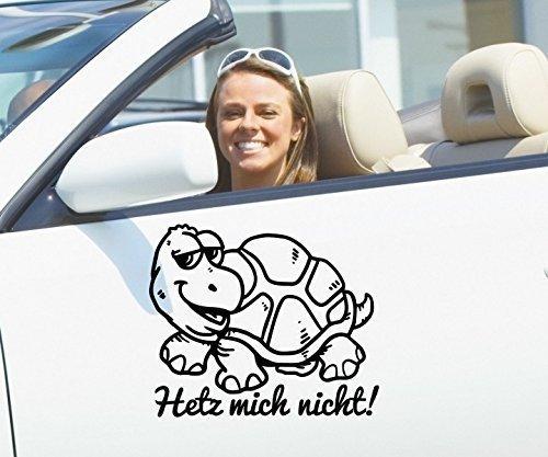 (Autoaufkleber Hetz mich nicht! Anfänger Schildkröte Sticker Auto Fahranfänger Heckscheibe Aufkleber KFZ car 1B343, Farbe:Weiß Matt;Hohe:25cm)