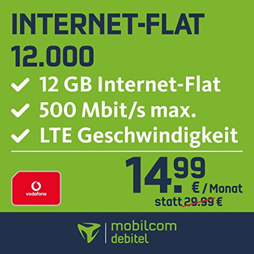mobilcom-debitel Internet-Flat 12.000 im Vodafone-Netz (14,99 EUR monatlich, 24 Monate Laufzeit, 12 GB Internet-Flat, LTE mit max. 500 MBit/s, EU-Roaming-Flat, Triple-Sim-Karten)