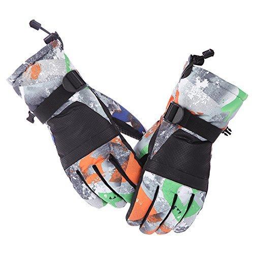 Skihandschuhe, Lemonworld Ski/Snowboard Handschuhe für Männer Frauen Kinder, winddicht und wasserdicht atmungsaktive Handschuhe mit TPU Outdoor-Radfahren Sport (Touchscreen schwarz, L)