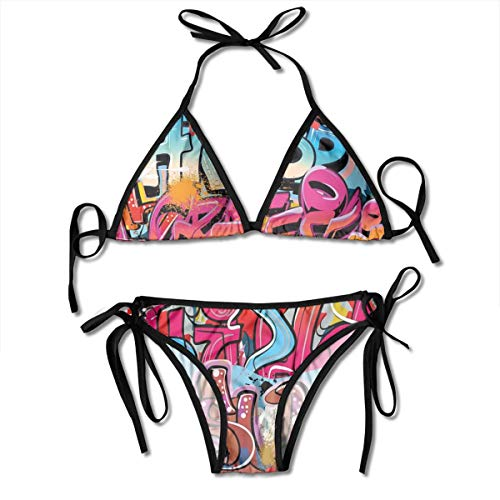 7930dea7857d Adjustable Bikini Set Halter Ladies Swimming Costume, Hip Hop Street  Culture Harlem New York City