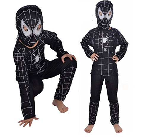 Schwarze Spinne Mann KostüM 3-4 Jahre GrößE S Spinne Mann Karneval Verkleidet Und Halloween-Baby Boy (Kontrollmessungen In Zentimetern GrößE) Spiderman - (Spiderman Black Anzug)