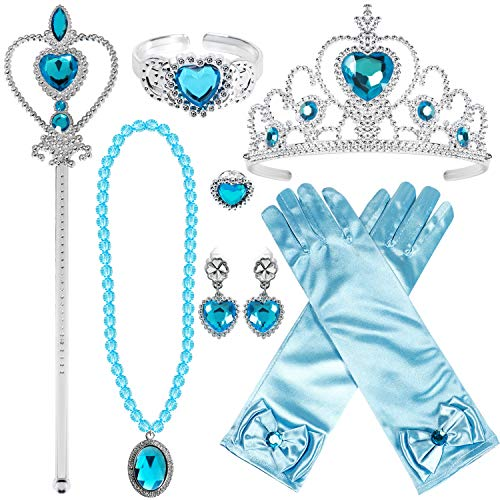 Kostüm Zubehör Set Prinzessin Krone Zauberstab Handschuhe Ohrring Halskette Armband Ring Prinzessin Schmuck für Kinder Mädchen (Blau-Prinzessin ELSA Cinderella) ()