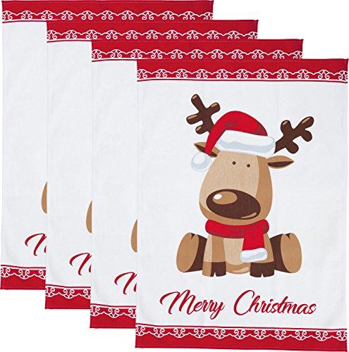 Erwin Müller Geschirrtuch 4er-Pack - Küchentuch - strapazierfähig, saugfähig - 100% Baumwolle - Weihnachten, Elch, Merry Christmas - rot - Größe 50x70 cm