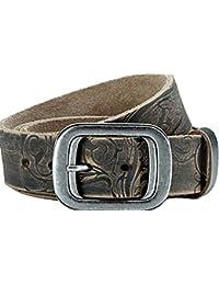 grands Jeans ceinture en cuir véritable de ceinture en cuir de buffle, noir, avec un beau look, used Look, unisexe, facile à couper