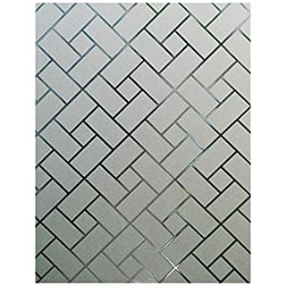 Arthome Frosted Decorative Privacy Window Films No Glue Self Static Cling Anti UV Non-Adhesive Removable for Bathroom Living Room Bedroom Kitchen Office Home (AHS159, 23.6 x 100 inch)