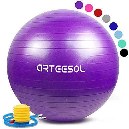 Arteesol Gymnastikball, Balance Ball 45cm/55cm/65cm/75cm Yoga Ball mit Pumpe Anti-Burst Fitness Balance Ball für Core Strength (Lila, 65CM)