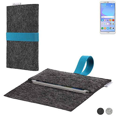 flat.design Handy Hülle Aveiro für Huawei Y6 (2018) Dual-SIM passgenaue Filz Tasche Case Sleeve Made in Germany