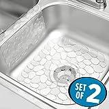 mDesign 2er-Set Spülbeckeneinlage – Kombi-Paket aus Abtropfmatte und Waschbeckenaufsatz zur Vermeidung von Kratzern – Schutzmatte aus Kunststoff – durchsichtig