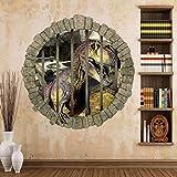 Adesivo da parete rotto dinosauro per camera dei bambini Decorazione camera da letto dei ragazzi Cartoon 3D Adesivo Poster Carta da parati Murale b2 33,3x33,3 cm