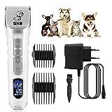 GHB Kit Tosatrice Cani Tosatore per Cani Display Schermo LCD Tosatrice Animali Wireless Silenzioso Clipper Ricaricabile con 4 Pettini per Cane Gatto Animali Domestici ecc