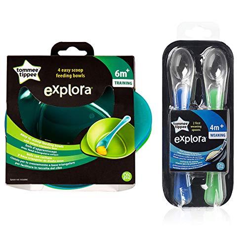 Tommee Tippee - Juego de 4 Cuencos de alimentación fácil para cucharas, 6 m + y 1 Cuchara de destete Explora 4 m + Libre de BPA (Verde y Azul)