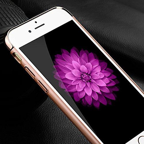 """3 en 1 Coque Étui Bumper pour Apple iPhone 6 / 6S 4.7"""" - Yihya [Ultra Mince] Plating Metal Effet Case Luxe PC Rigide Armor de Protection Antichoc Hardcase Arrière Cover Housse - Noir(Black) Or rose"""