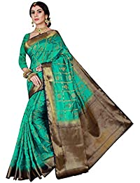 Viva N Diva Women's Turquoise Green Color Banarasi Art Silk Saree With Unstitched Blouse Piece.