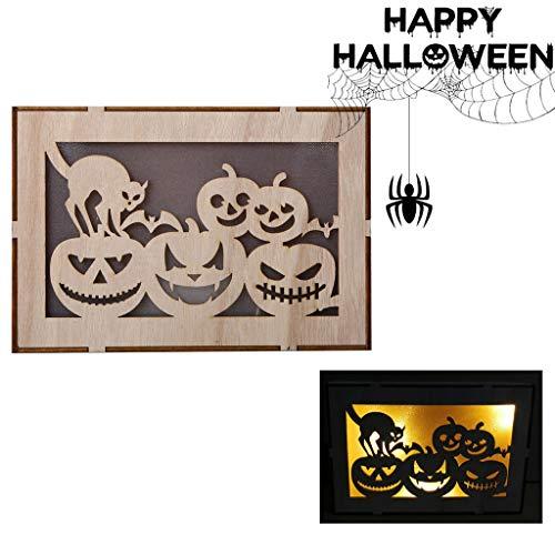 Kostüm Drama Box Sets - xue binghualoll Hauptdekoration,Holz Kürbis Spukhaus Anhänger LED Nachtlicht Halloween Home Decor Clever