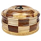 #5: Kraft Kart Royal Wooden Casserole / Hot Box / Chapati Box with Stainless steel inside body (2Ltr)