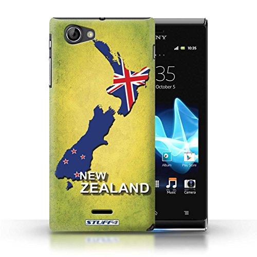 Kobalt® Imprimé Etui / Coque pour Sony Xperia J (ST26i) / Brésil conception / Série Drapeau Pays nouvelle Zélande