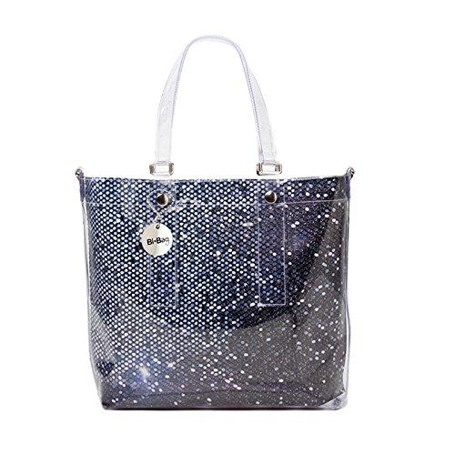 BI-BAG borsa donna modello EASY DIAMOND + pochette interna Blu