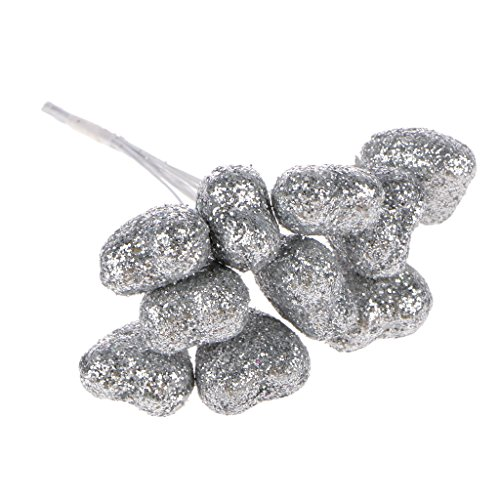 100x Heart Form Blumen hochzeit Geschenk Pralinen Schachtel Handwerk Schaum Kranz Dekor - Silber