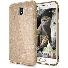 Samsung Galaxy J5 2017 (EU-Model) Purpurina Funda de NICA, Carcasa Protectora Movil TPU Silicona Fina Glitter Gel Bumper, Lentejuela Cubierta Delgado Cover Case para Samsung J5 2017, Color:Gold Oro