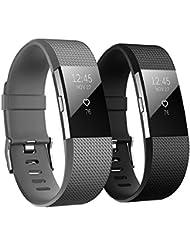 Fitbit Charge 2 Armbänder, Hanlesi Silikon Einstellbare Ersatz Sport Uhrenarmband Armband für Fitbit Charge 2 Smartwatch Armbander
