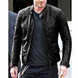 Herren Motorrad Schwarze Lederjacke für Männer David Beckham