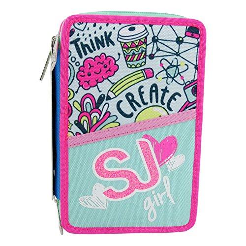 Seven sj gang girl astuccio tre zip portapastelli portapenne colori pennarelli scuola verde
