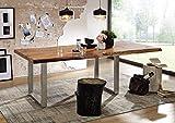 MASSIVMOEBEL24.DE Massiv Esstisch Baumkante Baumtisch mit Ansteckplatte Akazie 240-300x110x76 Walnuss Lackiert Freeform 2#21