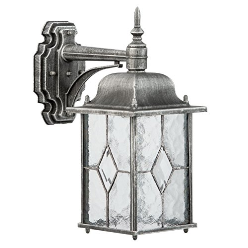 Wandleuchte Wandlampe silberfarbig Metall Glas IP44 1 - flammig exkl.E27 1x95W 230V