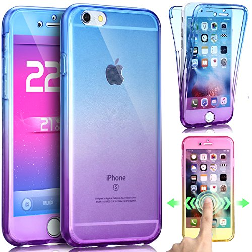 Cover iPhone 6S Plus,Cover iPhone 6 Plus,ikasus TPU Case Cover Custodia per iPhone 6S Plus / 6 Plus,Lusso gradiente di colore antiurto resistente ai graffi ultra sottile [Full-Body 360 Coverage Protec Blu Viola