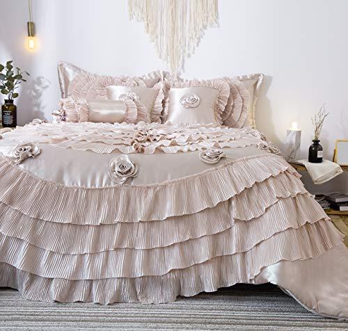 Tache 6Stück Frosted Fields Faux Satin Luxus Tröster Set, Polyester-Mischgewebe, beige, Queen -