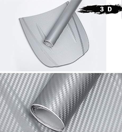 Autofolie Carbon Folie Aufkleber Autofolie Aufkleber Vinyl Wrap 3D DIY Auto Folie mit Luftkanäle Verdickt Dekorative Schwarz (152 * 30cm) Auto & Motorrad, Laptops, Handys, PC-Gehäusen (Silber)