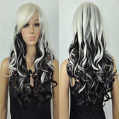 OOFAY JF-Mode Frauen halloween heiß langen schwarzen lockigen weißen Mix beständigen Faser Perücke , black mixed white