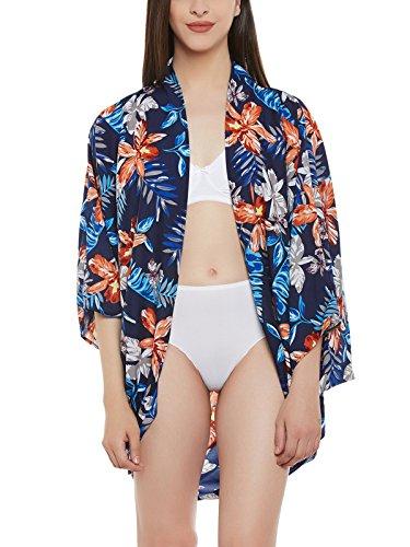 Clovia Women Crepe Tropical Print Kimono With Cowl Hem