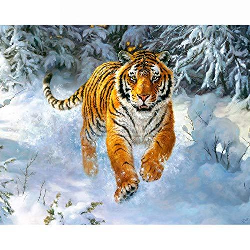 GMYANZSH DIY Diamant malerei Tiger Diamant Stickerei Tiere Bild von Strass Diamant-schneebedeckten Tag mosaik kreuzstich
