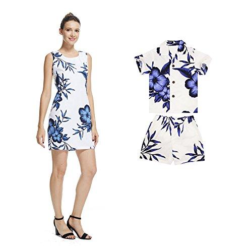 Conjunto-de-Luau-hawaiano-de-madre-e-hijo-Vestido-de-mujer-Camisa-chico-Corto-Blanco-Marina-Floral-S-4