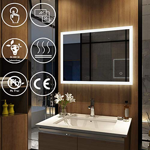 EMKE Wandspiegel Badezimmerspiegel LED Badspiegel mit Beleuchtung 80x60cm mit Touch-Schalter und Beschlagfrei, Lichtspiegel Kaltweiß 6400K