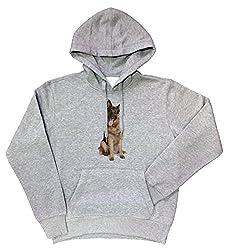 German Shepherd Hound Dog Grey Cotton Men's Sweatshirt Pullover Hoodie