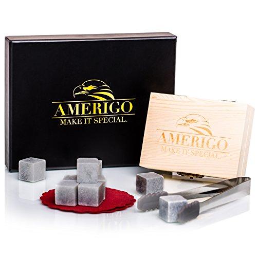 un set regalo di pietre per whisky da amerigo - set di 9 pietre da whisky - scatola in legno set regalo di pietre raffreddanti fatte a mano, pinze di acciao inossidabile e 2 sottobicchieri eleganti