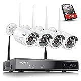 SANNCE WLAN Überwachungskamera Set,4 Kanals 1080P NVR Network Video Recorder mit 1TB Festplatte mit 4 * 720P drahtloses Überwachungskameras für Innen/Außen Videoüberwachung,Nachtsicht bis zu 30 Meter