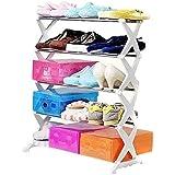 Goank 5 Tier Foldable Stainless Steel Shoe Rack for 16 Pair, White