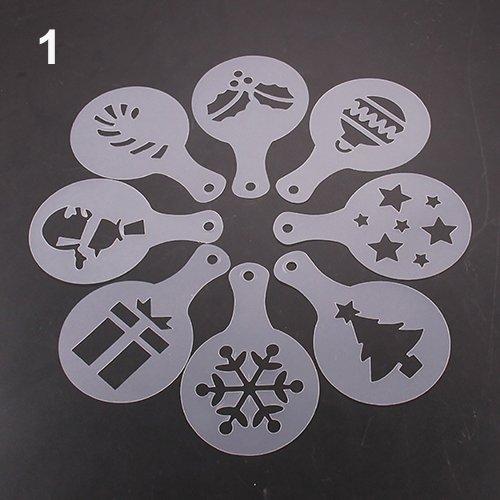 Steellwingsf 8 Stück Kaffee-Deko-Schablonen Barista-Schablonen Schablonen Stroh-Pad Staubwedel Spray Girlande Form Christmas Zufällig