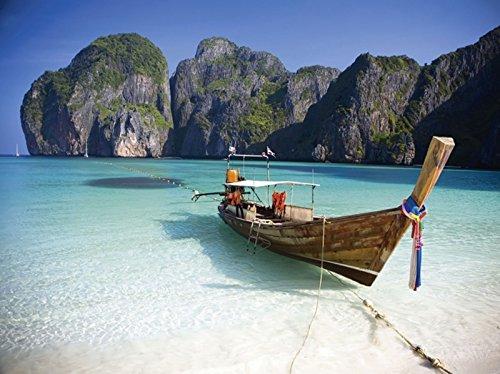 Artland Wandbilder selbstklebend aus Vliesstoff oder Vinyl-Folie Mateo Pearson Maya Bay, KOH Phi Phi Leh, Thailand Fahrzeuge Boote & Schiffe Fotografie Blau A5XL - Mateo Poster