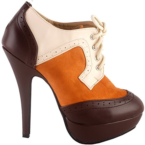 Show Story Vintage-Stil braun beige Öse Lace-up-Plattform High Heel Stiletto Knöchel Stiefel Pump Schuh, LF30312BR37, 37EU, braun -