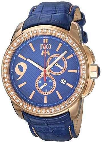 JIVAGO Men's GLIESE 43MM Leather Band Steel CASE Swiss Quartz Watch JV1533