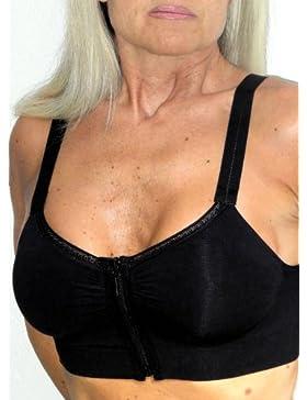 Reggiseno con zip frontale, senza ferretti, adatto dopo aumento seno - S (2/3) - nero