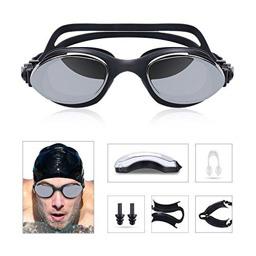 Gafas de Natación, Gafas para Nadar, Unisex Adulto, contra la niebla y los rayos UV, Ajustable Gafas para Nadar con gorro de natación, clips de nariz, tapones para los oídos